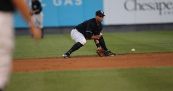Playing third base, a common mistake